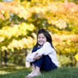Stock Photo: Little girl hugging knees sitting on lawn against bright autumn