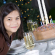 Little girl ready to blow out her birthday cake candles — Stock Photo