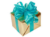 Gold present with blue ribbons — Stock Photo