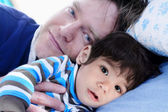 Sleep time with my dad — Stock Photo