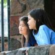 Children looking out over stone wall - Stock Photo