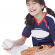 Little league softball player holding ball — ストック写真