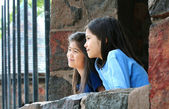 Children looking out over stone wall — Stock Photo