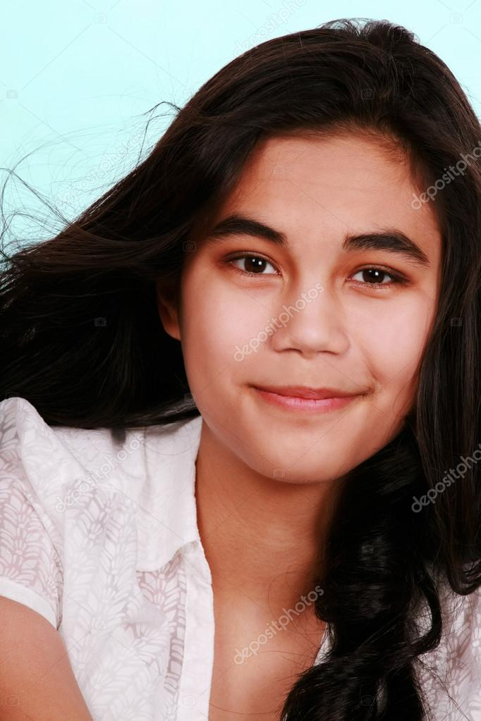 Pleasant Beautiful Biracial Teen Girl Smiling Isolated Stock Photo Hairstyles For Women Draintrainus