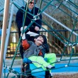 Father with disabled boy at the playground — Stock Photo