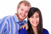 Happy young interracial couple in blue, early twenties or late t — 图库照片