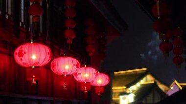 Red asian lanterns. — Stock Video