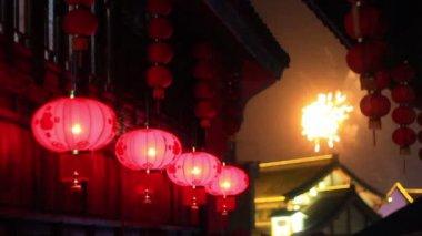 Red asia lenterns — Stock Video
