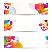 Abstract web banners with colorful arc-drop — Stock Vector