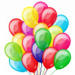 Vector de stock : Party background with multicolored transparent balloons.