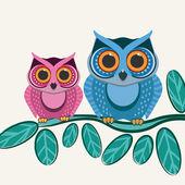 Couple owls birds on a tree branch. — Stockvector