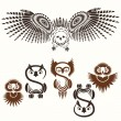 Royalty-Free Stock Vector Image: Set of various Owls