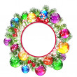 Christmas wreath with snow-covered branches of Christmas tree. — Stock Vector