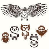 Conjunto de várias corujas — Vetorial Stock