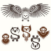 Set of various Owls — Vettoriale Stock