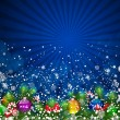 Blue Christmas Background with bright Christmas tree balls. - Stock Vector