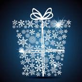 Christmas gift box, snowflake design background. — Stock Vector