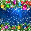 Christmas Background with bright Christmas tree balls. — Imagen vectorial