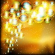 Light gold abstract celebration background with soap bubbles — Stock Vector