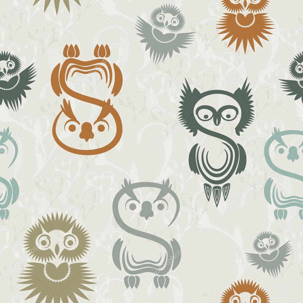Seamless pattern with various owls on a neutral background. — Stock Vector #12673174