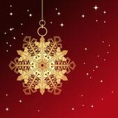 Kırmızı kart ile Noel kar tanesi — Stok Vektör