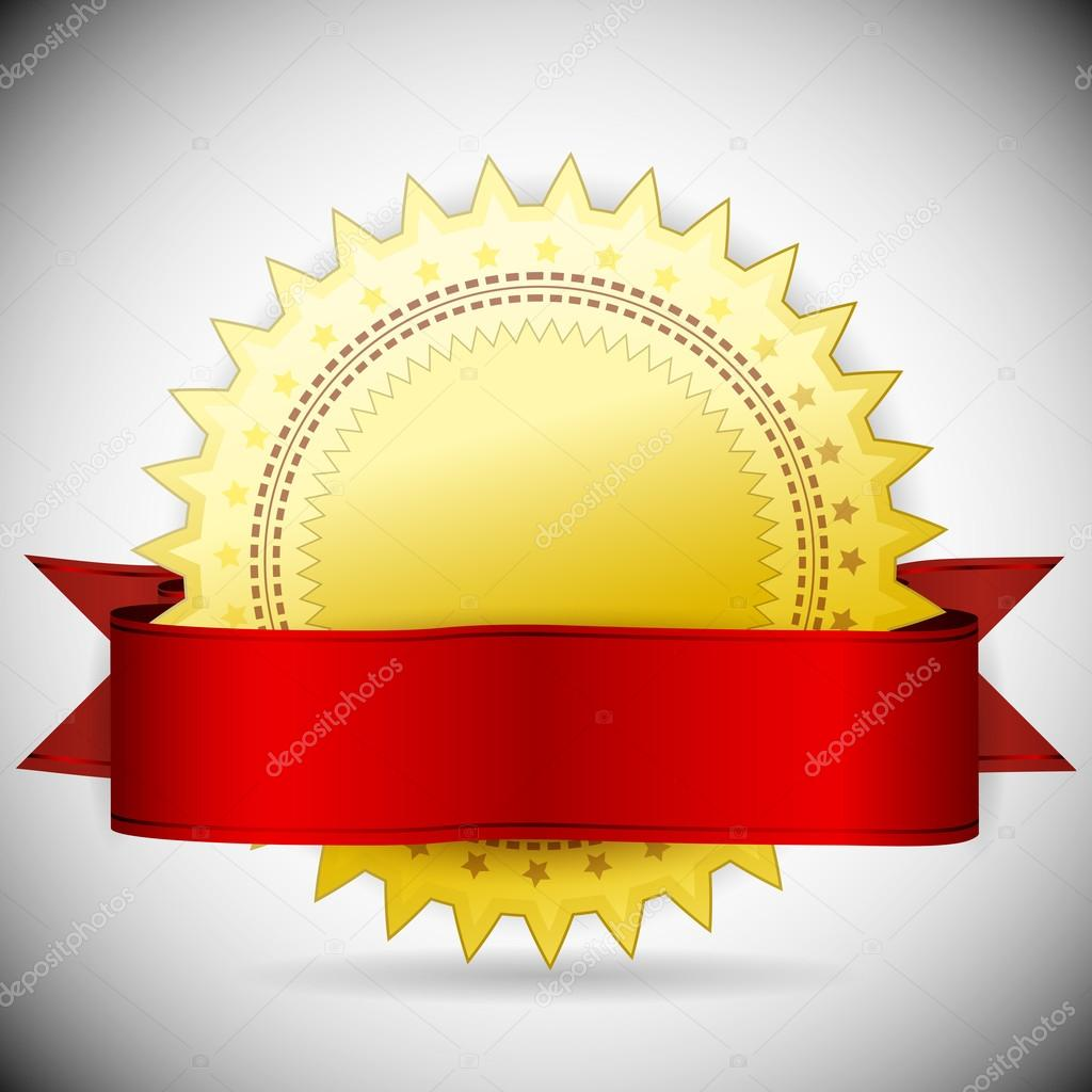 Vector golden label and red tape. — Stock Vector #12790478