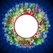 Blue Christmas Background with bright Christmas tree balls. — 图库矢量图片