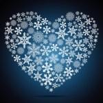 Christmas heart, snowflake design background. — Stock Vector