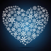 Christmas heart, snowflake design background. — Vector de stock