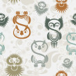 Seamless pattern with various owls on a neutral background. - Stok Vektör