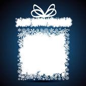 Weihnachts-geschenk-box, schneeflocke-design-hintergrund. — Stockvektor