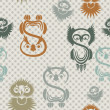 Seamless pattern with various owls on a neutral background. - Image vectorielle