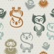 Seamless pattern with various owls on a neutral background. - Векторная иллюстрация