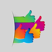 Like and Thumbs Up symbol. Abstract background. — Stok Vektör