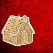 Christmas background with gingerbread house. — Stok Vektör
