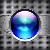 Techno achtergrond met glanzende knop. metalen banner — Stockvector