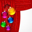 Christmas background with red satin and balls. — Imagen vectorial