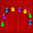 Christmas background with red satin and balls. — Stockvectorbeeld