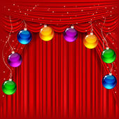 Christmas background with red satin and balls. — Stock Vector