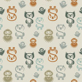 Seamless pattern with various owls on a neutral background. — Stock Vector