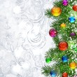 Christmas background with Christmas tree branches — ベクター素材ストック