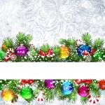 Fondo de Navidad con ramas de árbol de Navidad decorado — Vector de stock