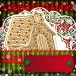 Christmas decorations on handmade knitted background. - Vektorgrafik