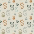 Seamless pattern with various owls — Vettoriali Stock