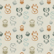 Seamless pattern with various owls — Stockvectorbeeld