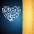 Christmas heart, snowflake design background. — 图库矢量图片