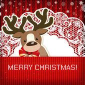 Christmas decorations on handmade knitted background. — Stockvektor