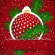 Christmas background. Wticker ball and tree branch. — Wektor stockowy