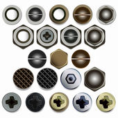 Screws, bolts and nuts heads set. — Stock Vector