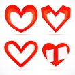 Paper stickers in the form of hearts. — Stock Vector